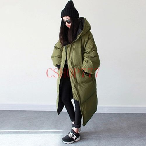 229c77d9861 New Oversize Womens Casual Long Down Coat Winter Parka Hood Loose ...