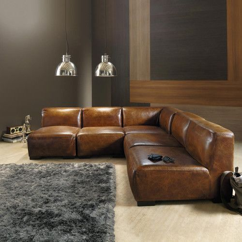 Angle de canapé en cuir marron