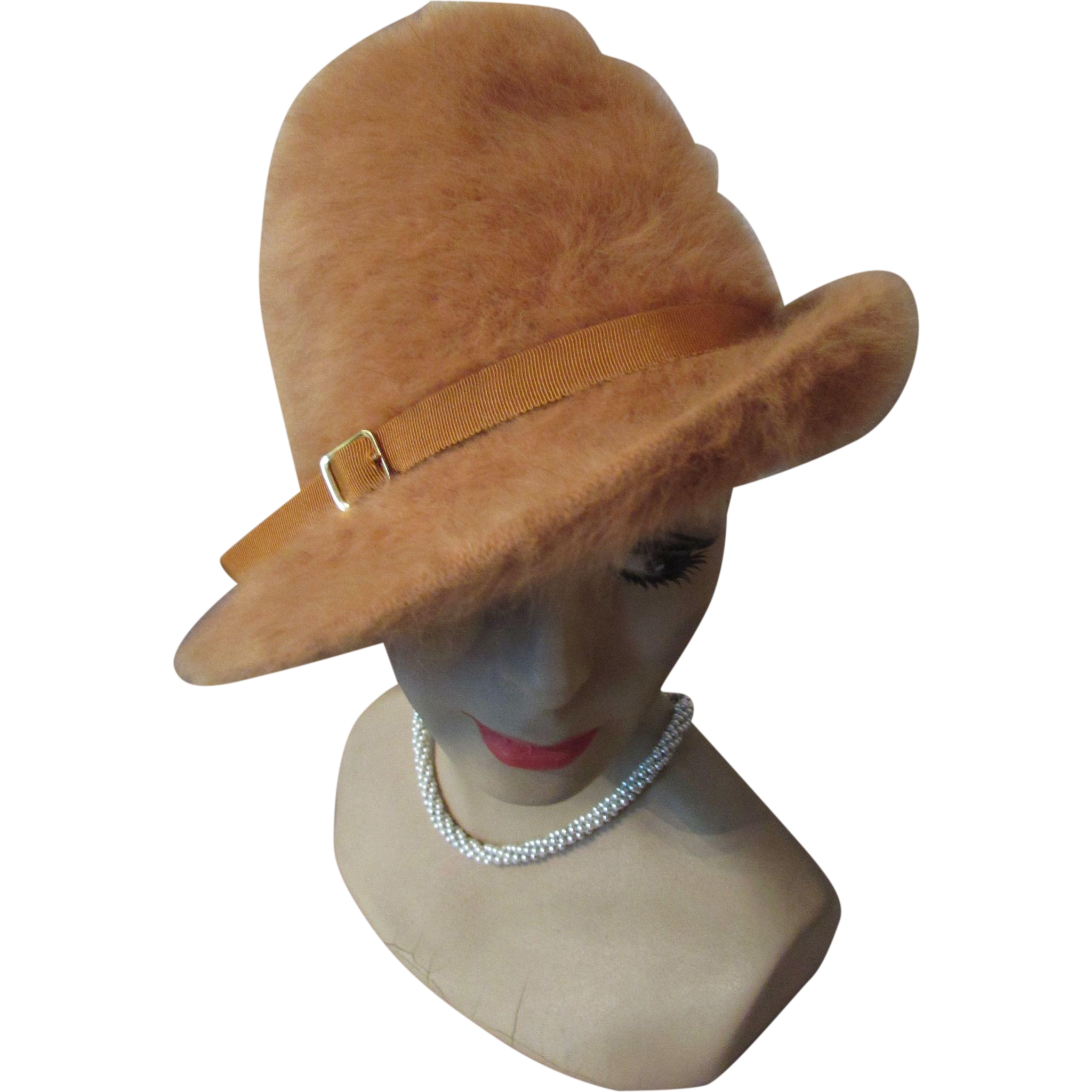 5e81bf509ab Slouch Hat in Pumpkin Long Fur and Gold Tone Buckle by Kangol Made in  England