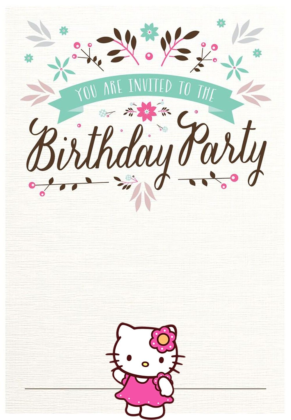Free Hello Kitty Birthday Party Invitation Cat Birthday Party Invitations Hello Kitty Invitation Card Hello Kitty Birthday Party