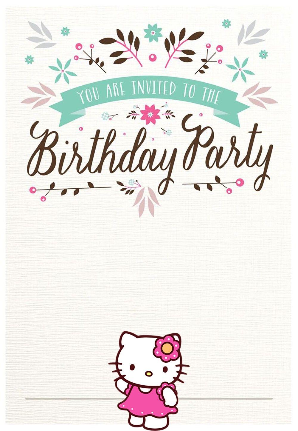 free hello kitty birthday party invitation  hello kitty