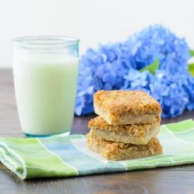 Golden Coconut Bars are like macaroons with an extra molasses flavor from brown sugar.