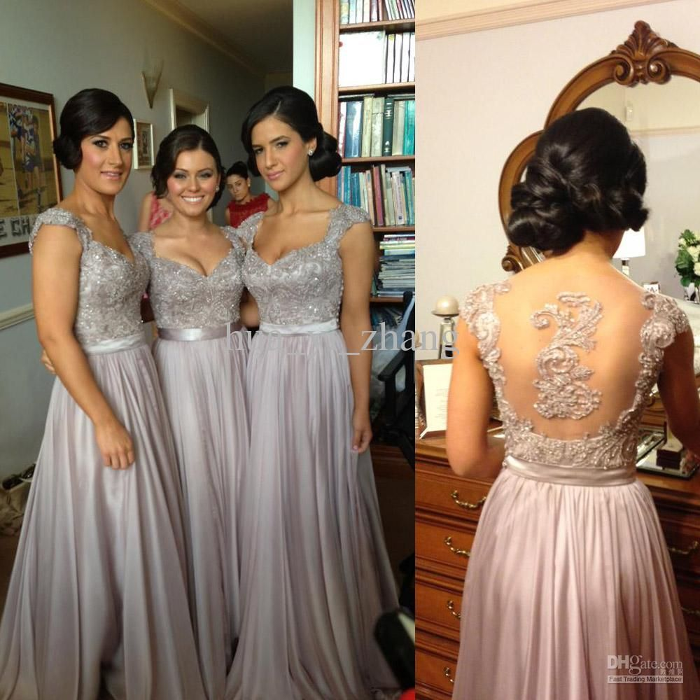 Sexy luxury bridesmaid dresses beaded embroidery sheer back cap sexy luxury bridesmaid dresses beaded embroidery sheer back cap sleeves chiffon bridesmaid dresses norma with free pearls neckace ombrellifo Image collections