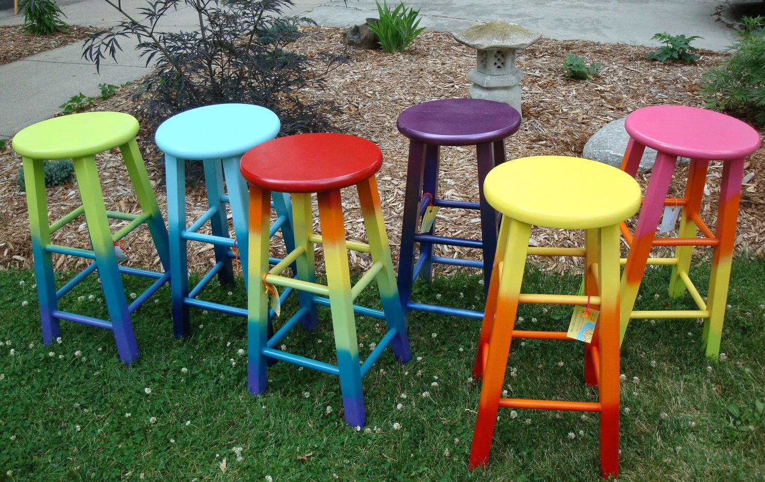 Hand-painted Upcycled Joyful 'Secret Garden' Wood Stool in cheerful lime, turquoise & purple ombre tie dye. $40.00, via Etsy.
