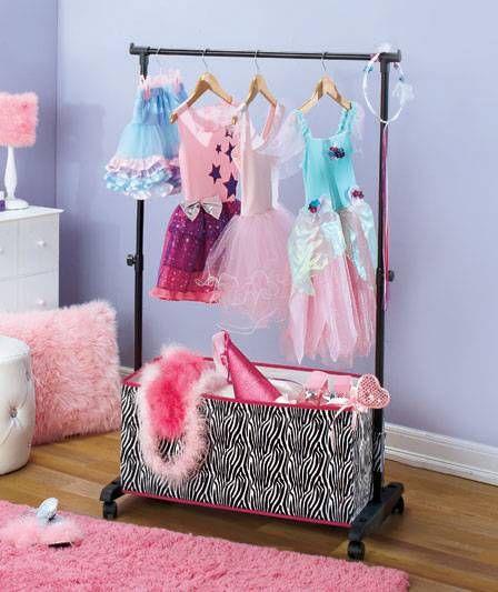 new girls rolling clothes rack w storage bins dress up costumes peace or zebra in 2019 devon. Black Bedroom Furniture Sets. Home Design Ideas