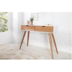 Retro Konsole Scandinavia 100cm Weiss Eiche Schreibtisch Mit 2 Schubladen Riess Ambiente 100cm Ambiente Eiche Konsole In 2020 Solid Wood Desk White Oak Desk Oak Desk