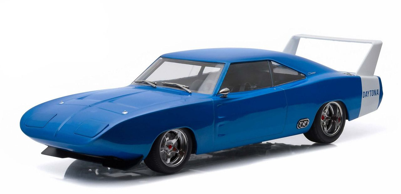 1969 dodge charger daytona custom blue with white rear wing 1 18 diecast model car