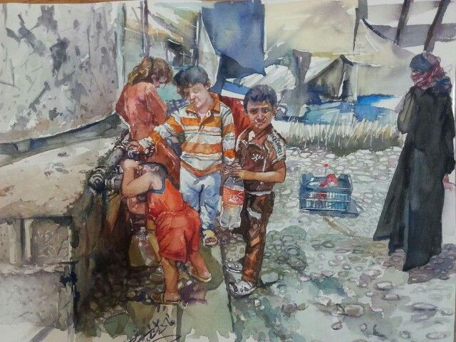 Refugee camp near the city Xanqeen, Iraq by Adel Askar  مخيم للنازحين قرب مدينة خانقين بريشة الفنان عادل اصغر