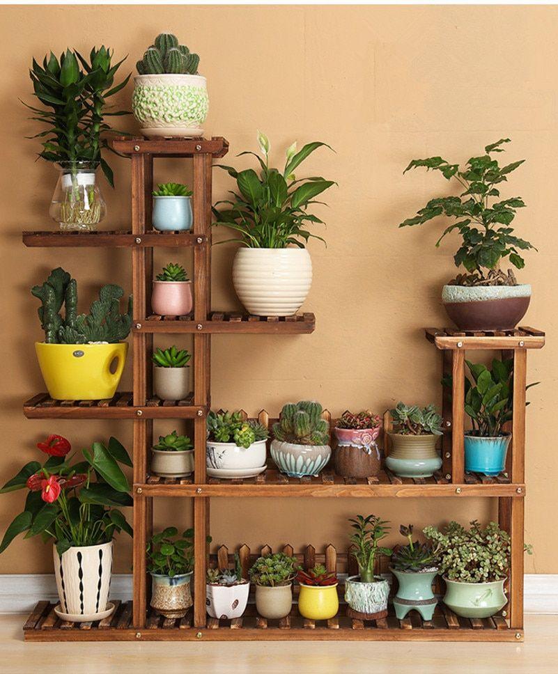 7 Tier Versatile Indoor Plant Shelf, Decorative Wood Plant Stand Plant Holder-in Plant Shelves from Furniture on Aliexpress.com | Alibaba Group #plantsindoor
