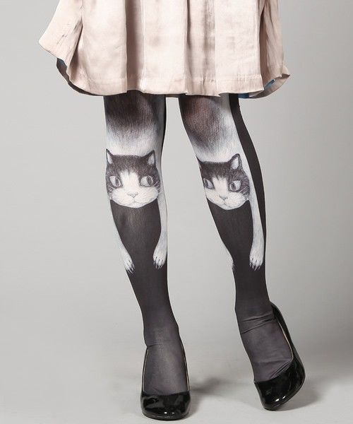 lazy cat opaque tights women 39 s cute vintage fancy party dolly kitten pantyhose cloth sock. Black Bedroom Furniture Sets. Home Design Ideas
