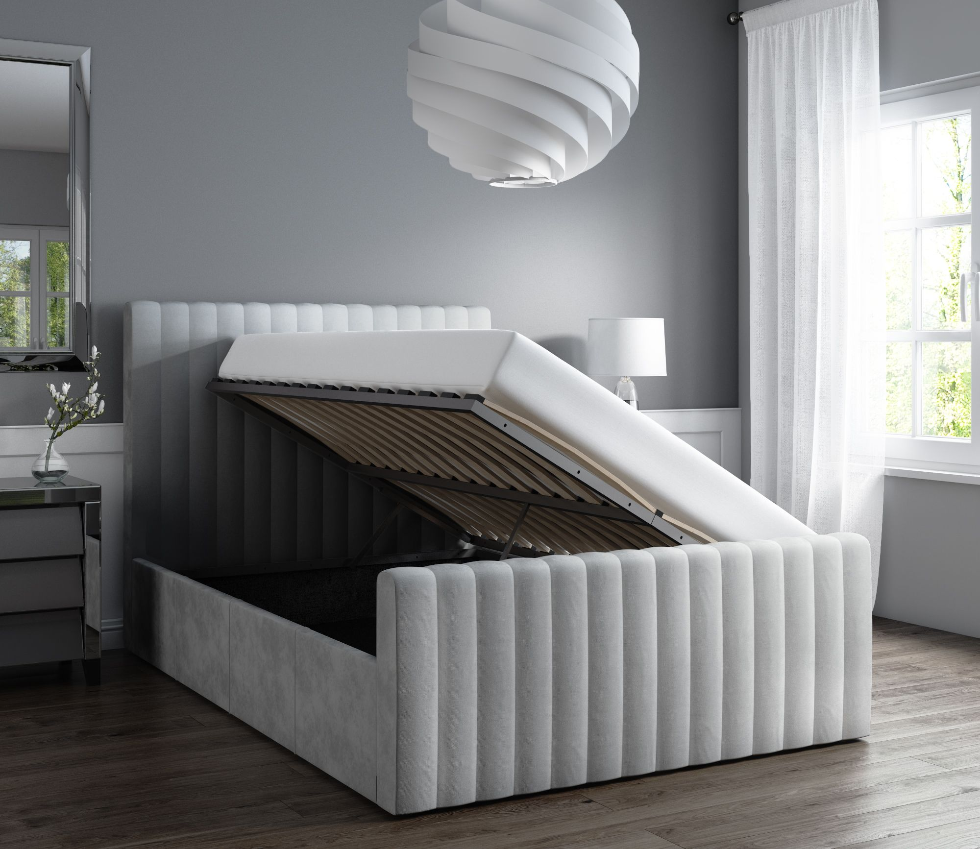 Awesome Khloe Double Side Ottoman Bed In Silver Grey Velvet Khl002 Creativecarmelina Interior Chair Design Creativecarmelinacom
