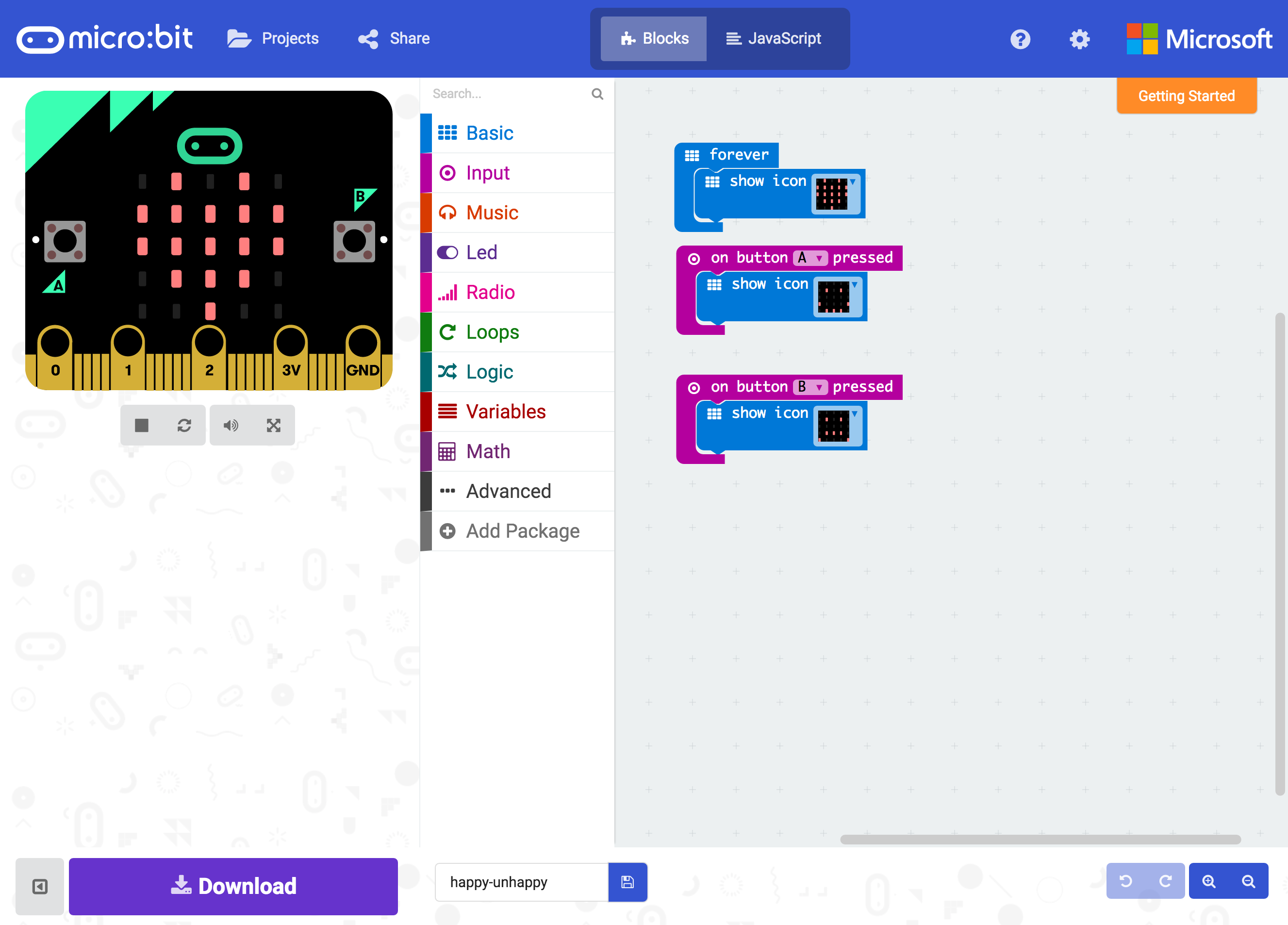 BBC Micro:Bit + Microsoft PXT (block-based) | Programming
