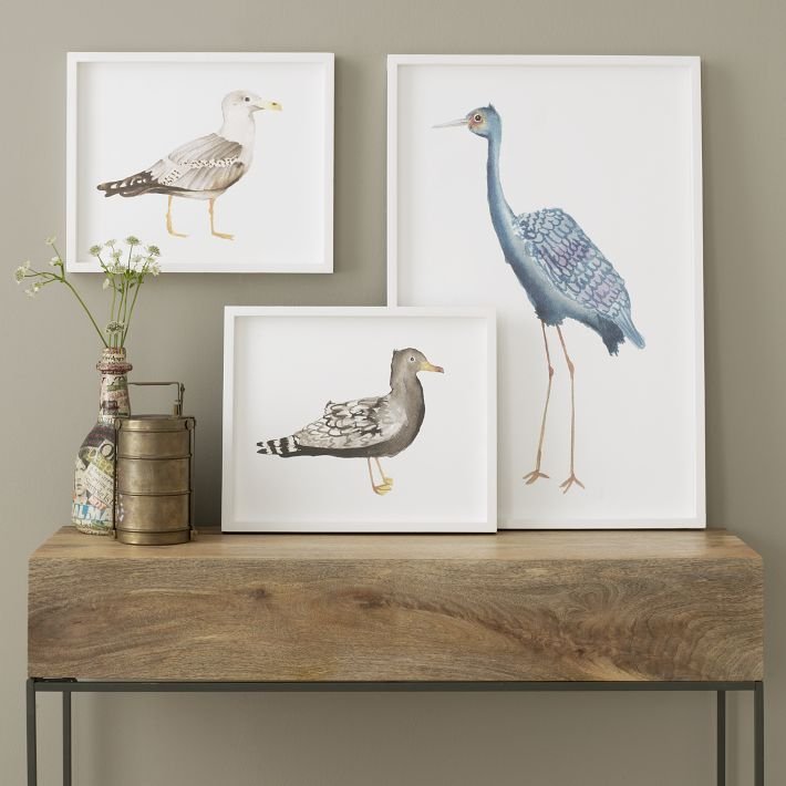 Framed Bird Wall Art from West Elm - Hang them together or separate. Blue, brown and gray shades let you mix them with neutrals and add a focal point to any room. Try in an entry way, office, hallway, sunroom, library - Really easy to mix and match! See how they look in your favorite room - Map it out in 3D with RoomSketcher Home Planner.