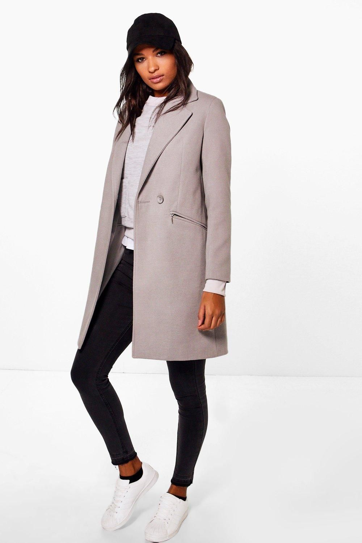 Zip Pocket Tailored Coat Boohoo Uk Coat Outfit Casual Coats Jackets Women Winter Coats Women [ 1500 x 1000 Pixel ]