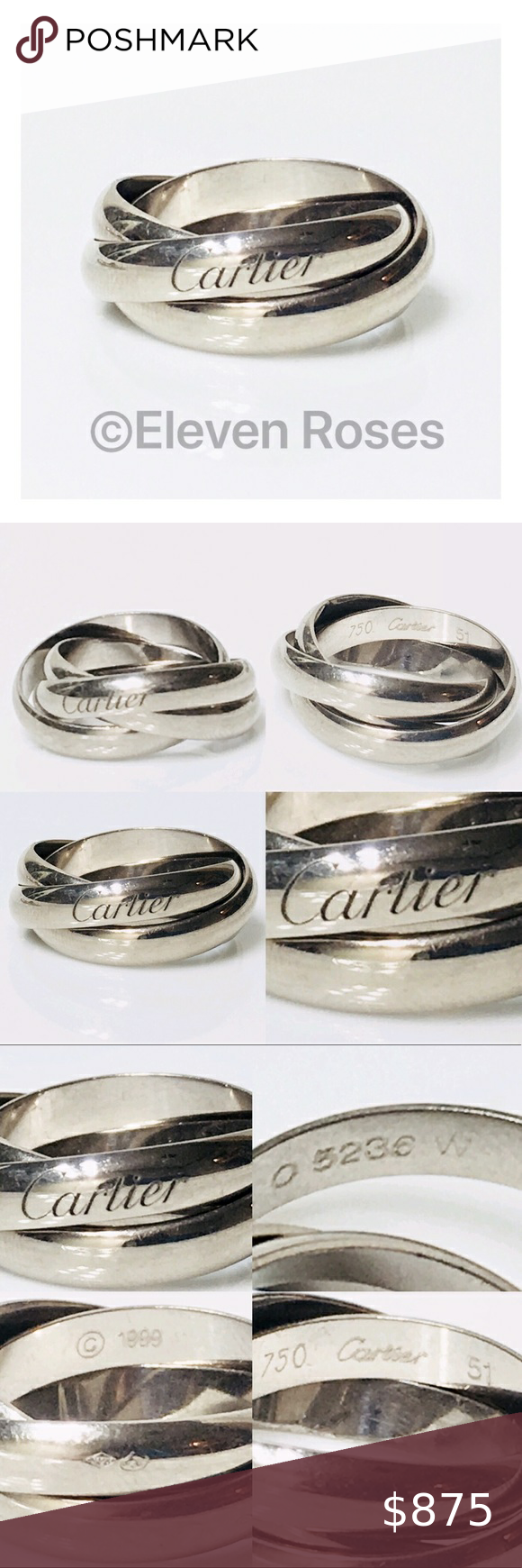 Pandora Jewelry 60% OFF!> Cartier 18k Gold Rolling Trinity Ring Cartier Three Band Ring Solid 750 18kt White Gold Each Band Measures Approx 3.5mm W Euro Size 51 / US Size 5 3/4 Original Cartier Packaging Included As Shown Very Good Condition Light Wear Listing Images Are Of The Actual Item Being Offered Cartier Size Chart Shown On Listing Images Cartier Jewelry Rings #Jewelry #PANDORA #style #Accessories #shopping #styles #outfit #pretty #girl #girls #beauty #beautiful #me #cute #styli...
