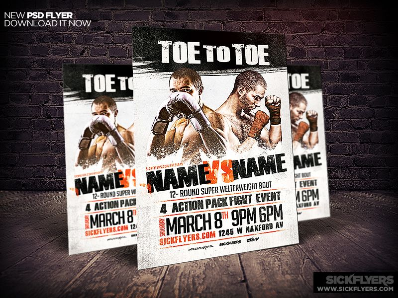 Boxing Flyer Template Psd  Boxing Flyers And Flyer Template