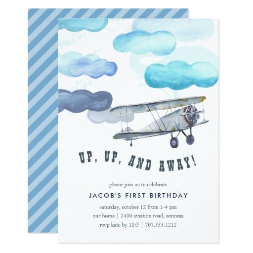 Items Similar To Airplane Birthday Invitation: Vintage Airplane Birthday Party Invite