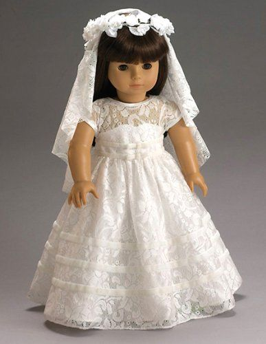 Wedding or communion white lace dress and veil for American girl wedding dress