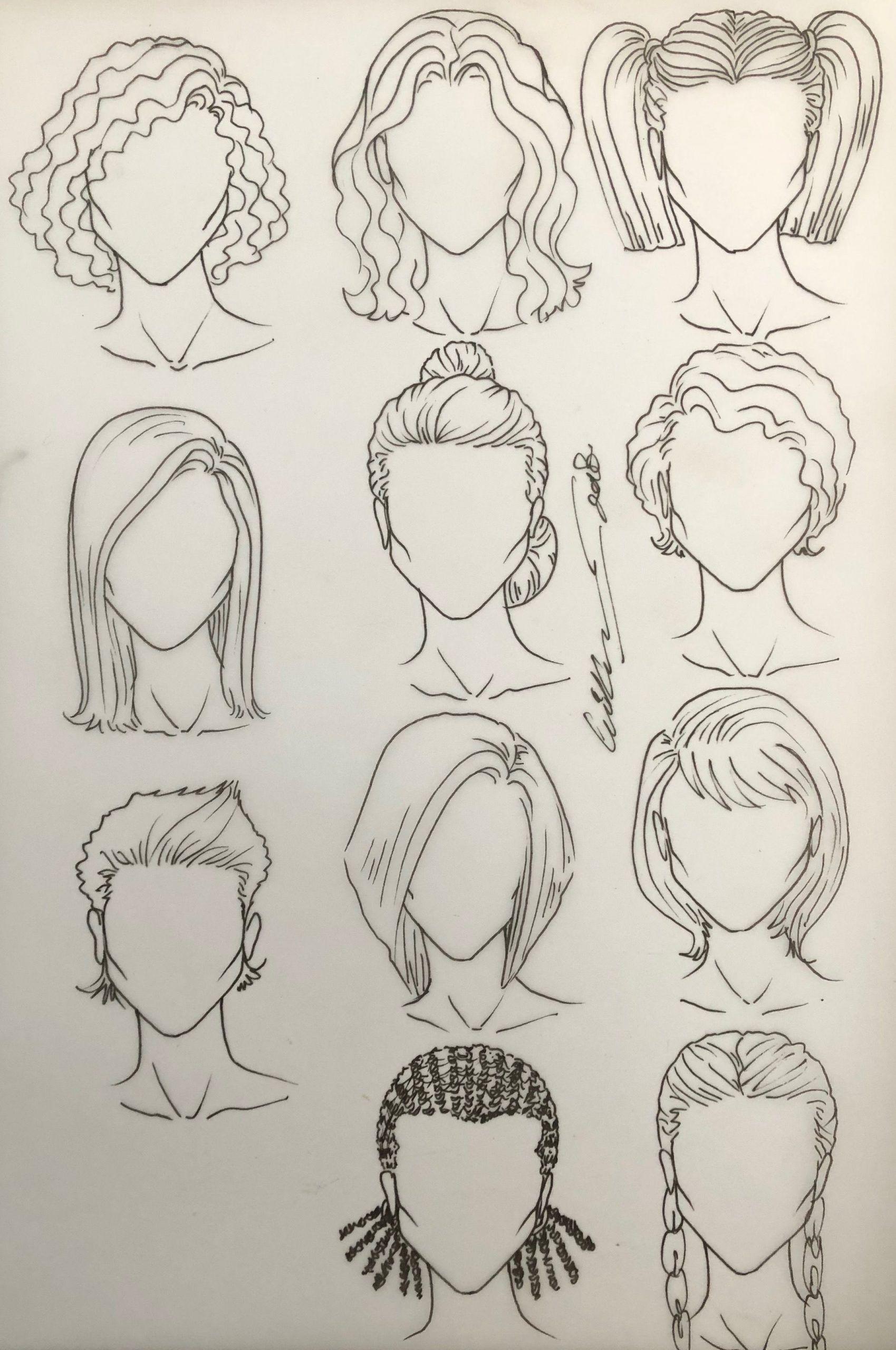 Paintings Model Drawing Top Model Drawing Hair Drawing Hair From The Side Edges Drawing Hair Dra In 2020 Fashion Illustration Hair Hair Sketch Hair Illustration