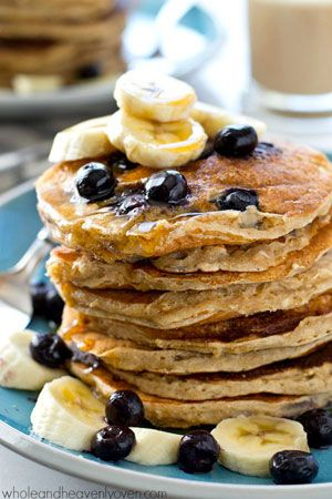 Blueberry Banana Oatmeal Sour Cream Pancakes Whole And Heavenly Oven Sour Cream Pancakes Food Sweet Cream Pancakes Recipe