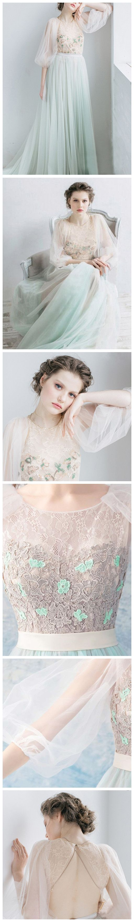 Chic scoop ombre prom dress long sleeve lace prom dresses