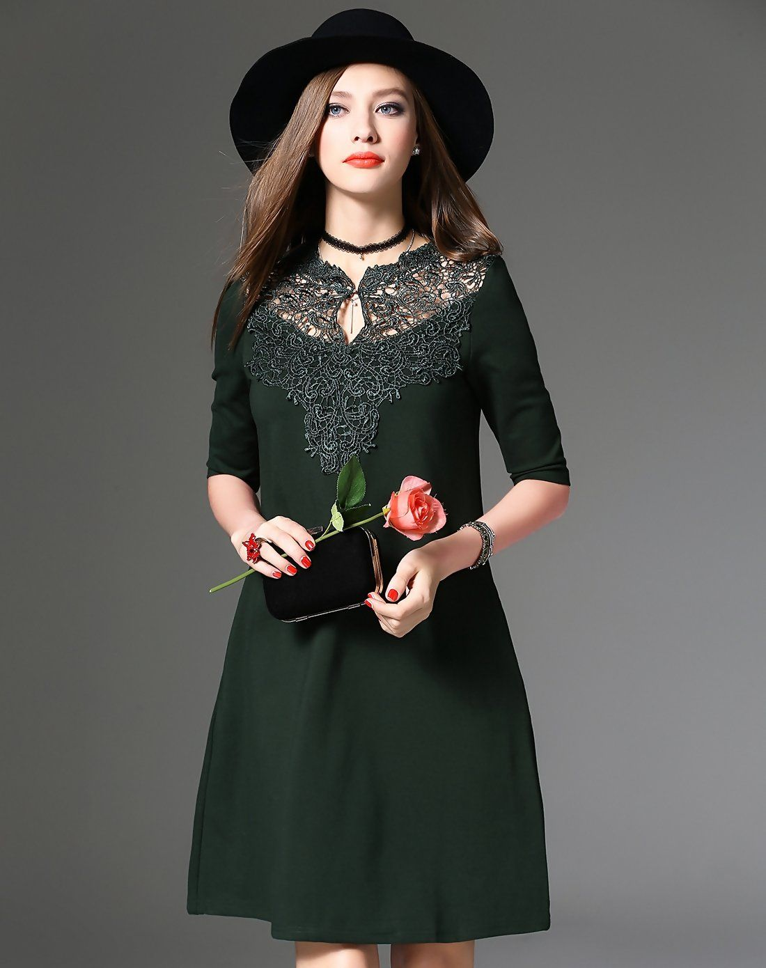 1c4f35fec4f7  AdoreWe  VIPme (VIPSHOP Global) Womens - DAIPYA Dark Green Elegant Lace  Cotton Shift Short Dress - VIPme.com - AdoreWe.com