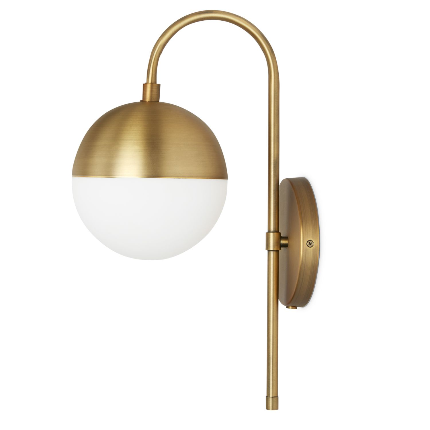 Hooded Led Wall Ground Light: Powell Wall Sconce With Hooded White Globe, Bronze
