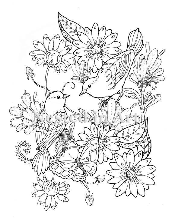Photo of Adult Coloring Page – 2 Birds and Butterfly floral design Digital Download