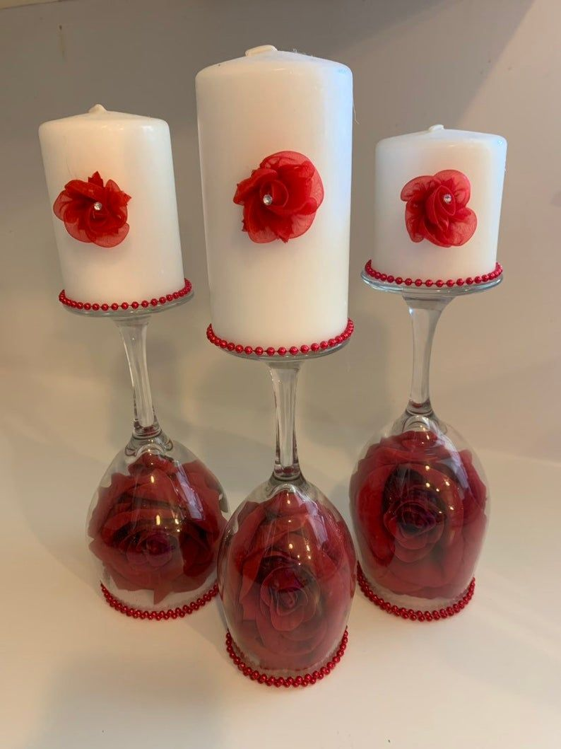 Wine Glass Candle Holders Mother S Day Gift Valentines Etsy In 2020 Wine Glass Candle Holder Wine Glass Candle Wine Glass Centerpieces