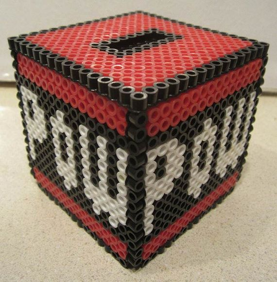 POW Block 3d Nintendo Perler Bead Bank. $12.00, via Etsy.