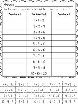 Doubles Plus One And Doubles Minus One First Grade Math Worksheets First Grade Math Math Addition Worksheets