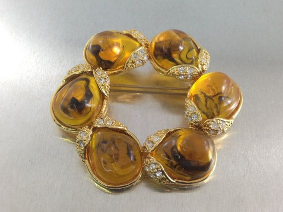 Vintage Amber Jelly Brooch with Rhinestones by TheOldJunkTrunk