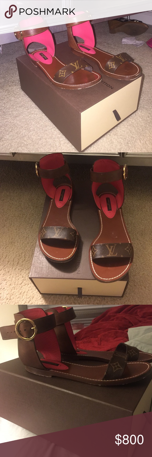 5caed7c334e262 Louis Vuitton Monogram Sandals Used but great condition 2016 Louis Vuitton  monogram sandals with box... will only negotiate reasonable offers!