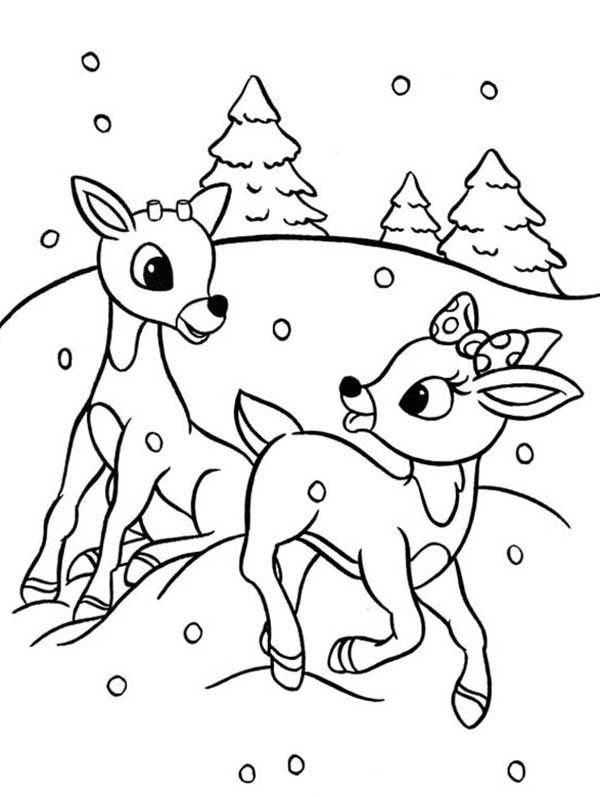 Rudolph And Clarice Are Santas The Reindeer Coloring Page Color Luna Rudolph Coloring Pages Christmas Coloring Printables Christmas Coloring Sheets