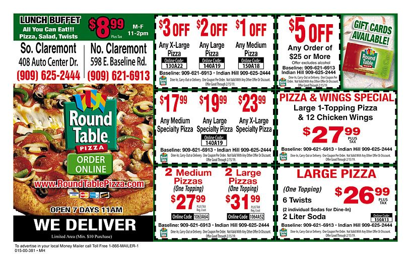 Roundtable Pizza Claremont Lunch Buffet Coupons Coupon Deals