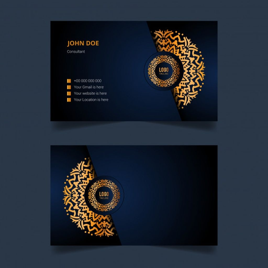 Luxury Business Card Template Design With Golden Arabesque Mandala Paid Paid P Luxury Business Cards Business Card Template Design Greeting Card Storage
