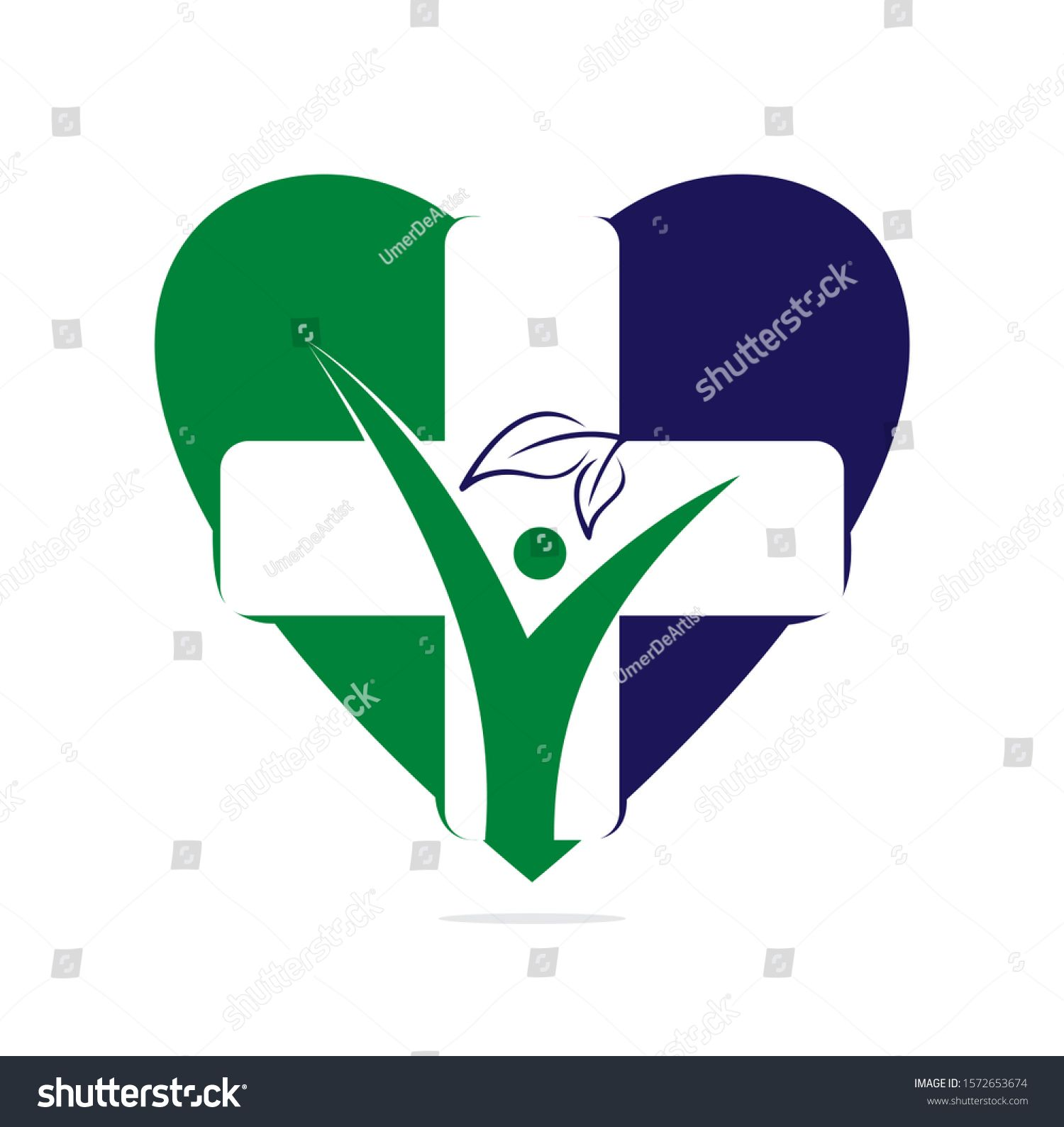 health heart shape logo  cross health concept Logo of the family doctor first aid Health and medical cabinett