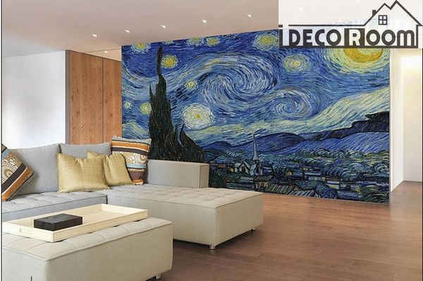 The Starry Night Vincent Van Gogh Wallpaper Wall Decals Decal Wall Art Wall Murals Wall Wallpaper
