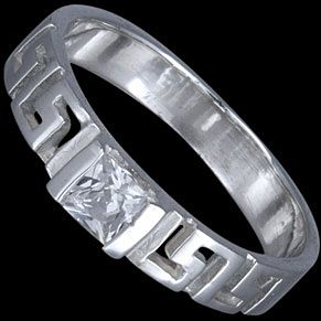 Sterling silver ring, CZ, greek design