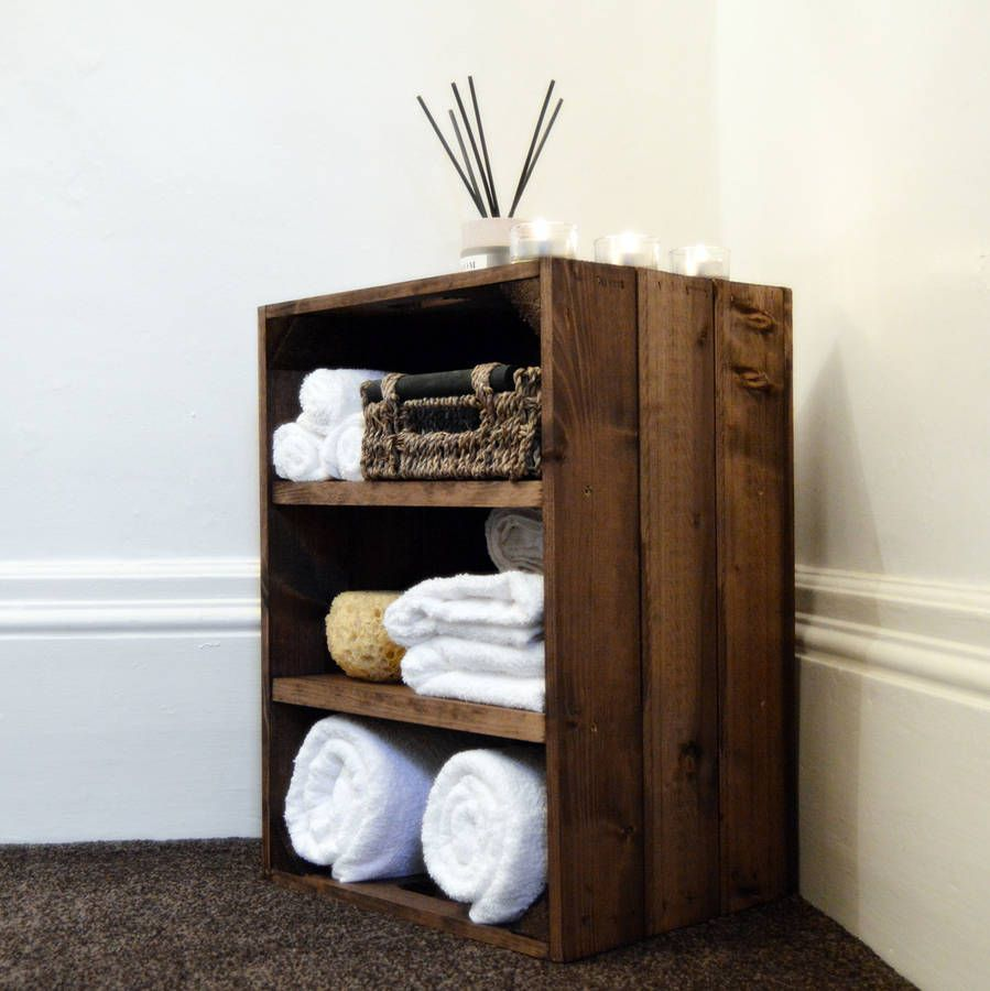 Wooden Crate Bedside Bathroom Cabinet  home decor
