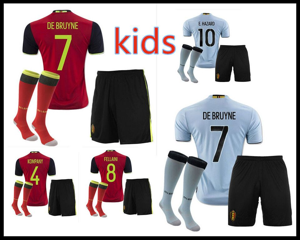 94fa0364d Belgium 2016 2017 KIDS soccer jerseys football shirts home red away blue  tops youth de foot maillot sets in stock best quality