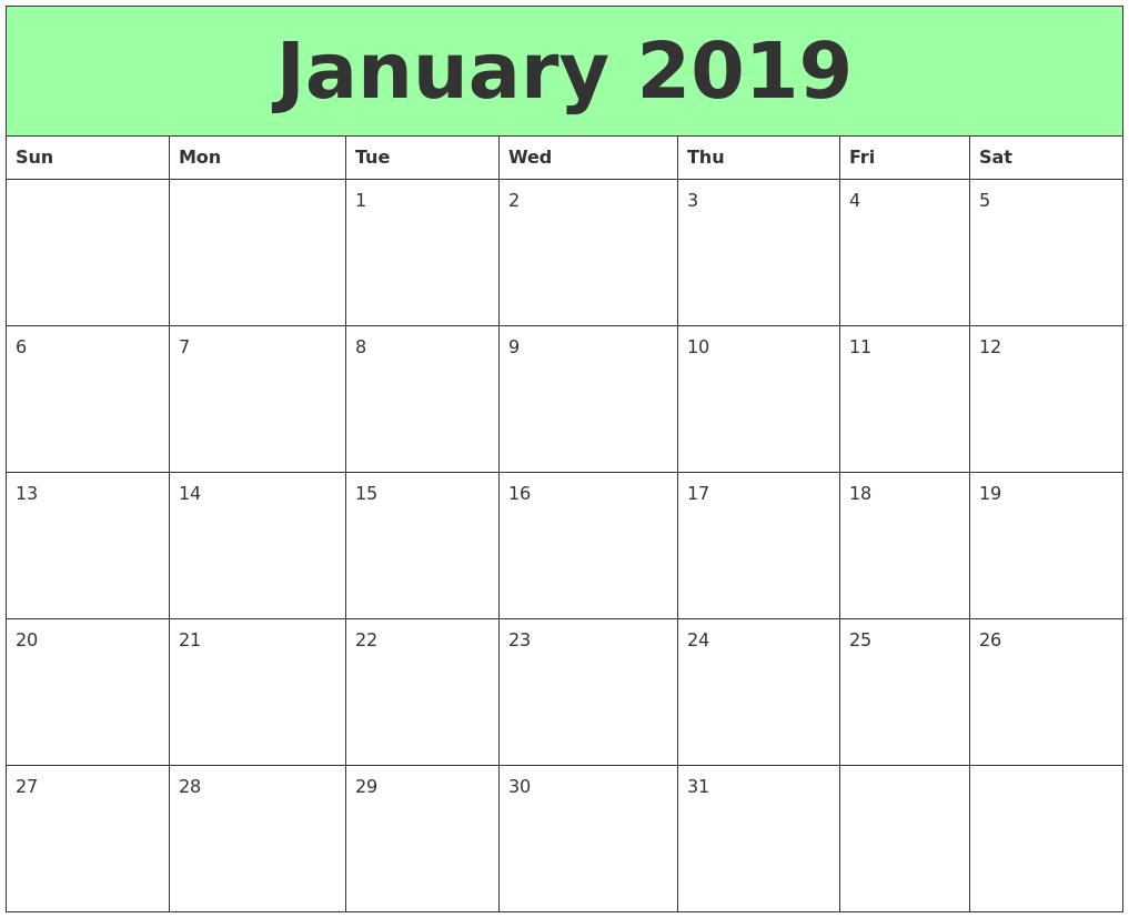 Landscape Calendar January 2019 January 2019 Calendar Editable #JanuaryCalendar