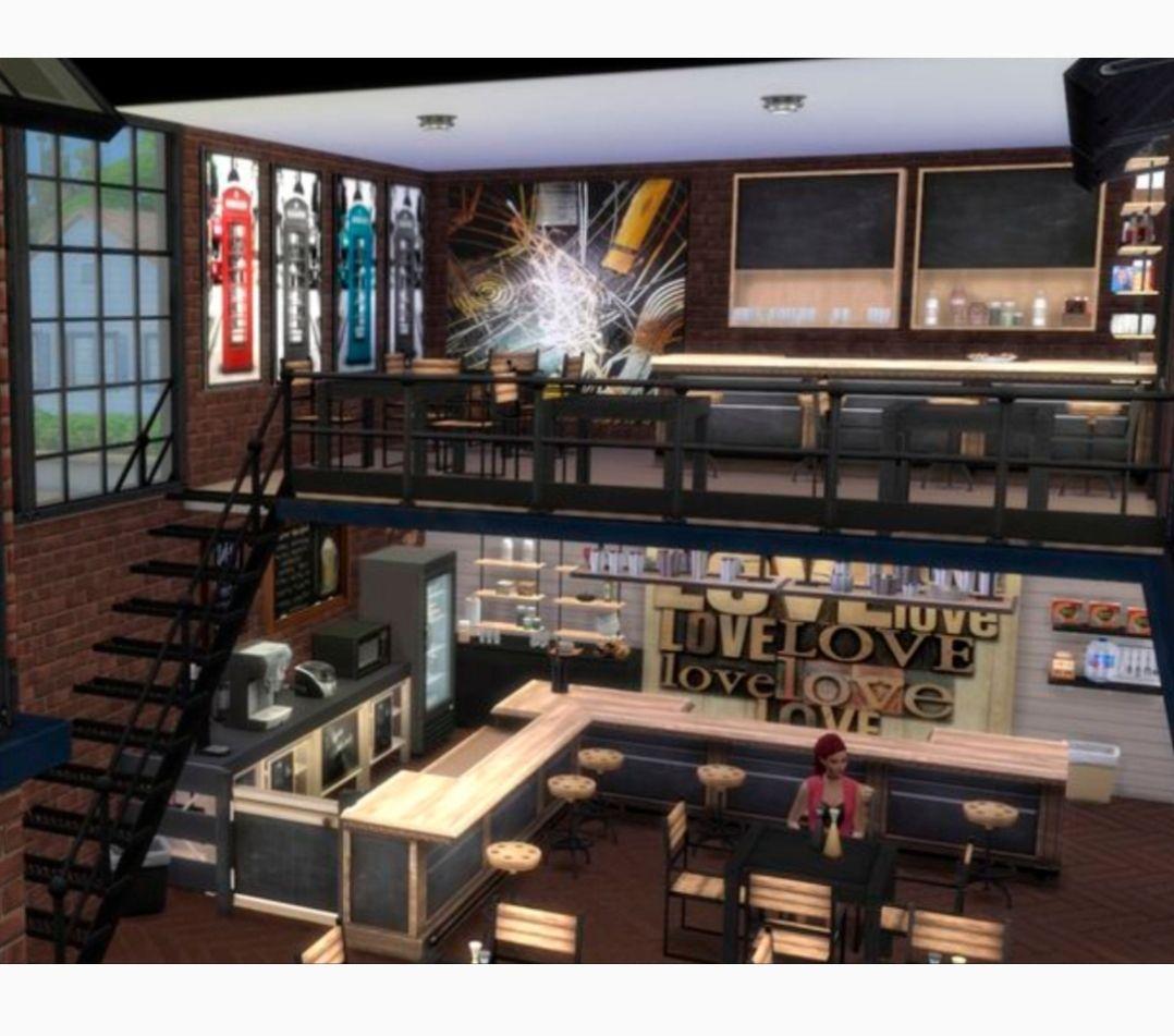 Sims 4 bar interior Sims 4 loft, Sims 4 restaurant, Sims