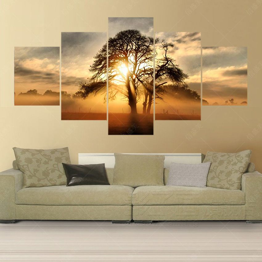 5 panneau peinture sur toile hd imprimer sunset arbre image cuadros decoracion mur photos pour. Black Bedroom Furniture Sets. Home Design Ideas