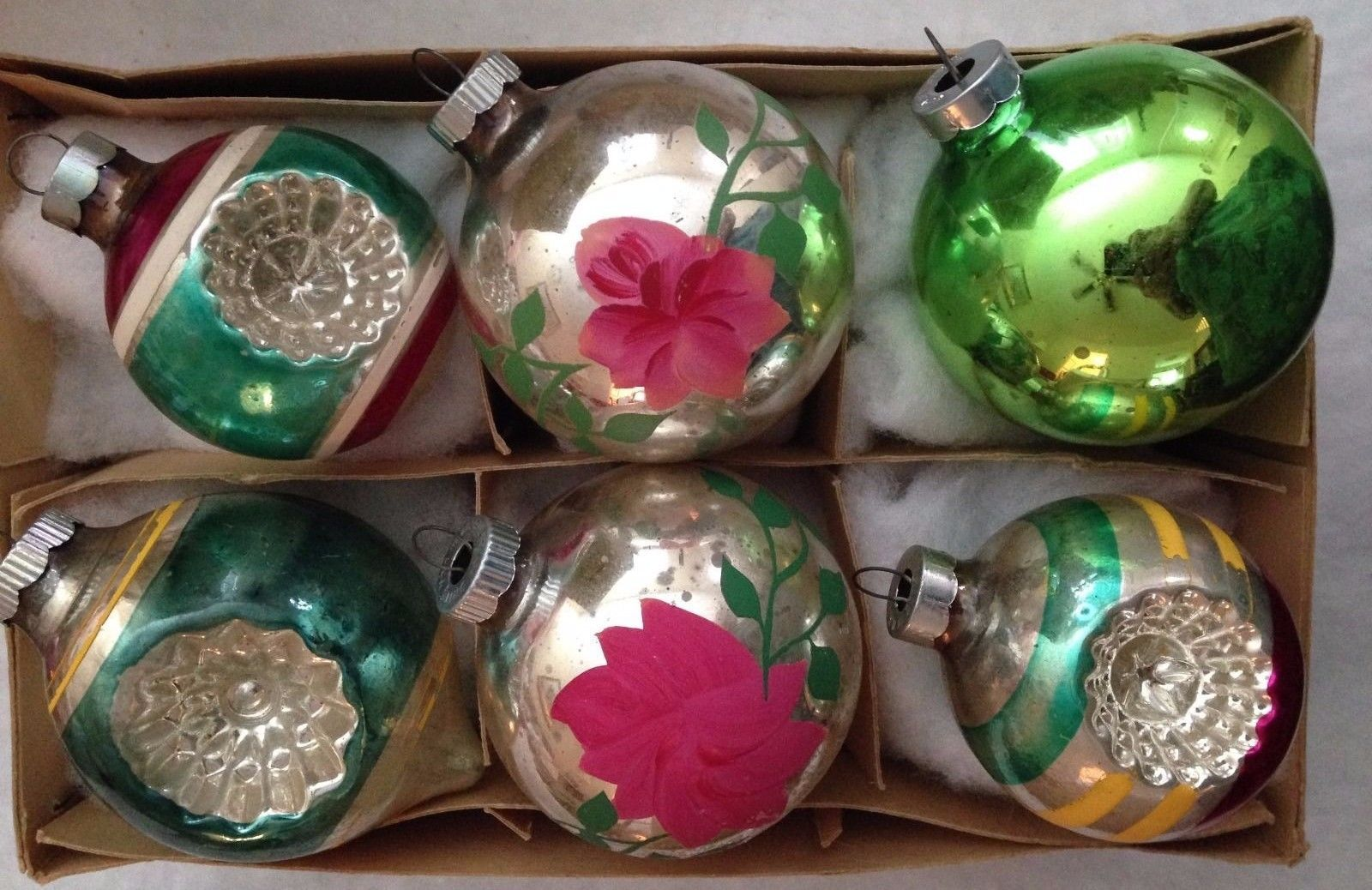 6 Antique Shiny Brite Double Star Flower Indents Poinsettias Christmas Ornaments   eBay