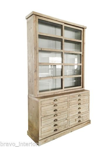 Office Display Cases. Display Cabinet Pine Sliding Glass Doors 8 Drawers  Dining Room Office New