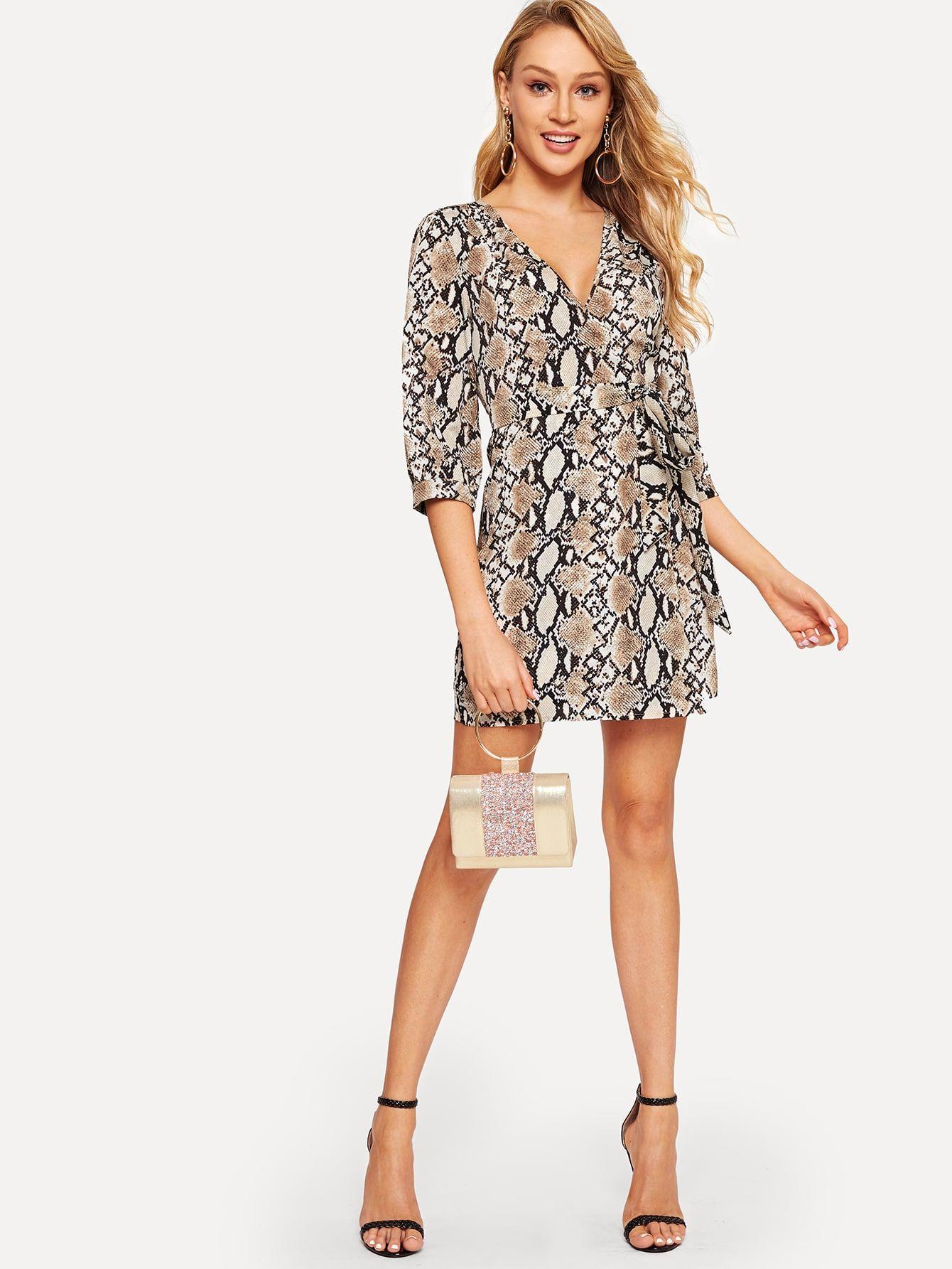 Snake Print Surplice Wrap Dress Shein Sheinside Surplice Wrap Dress Wrap Dress Dresses [ 1785 x 1340 Pixel ]