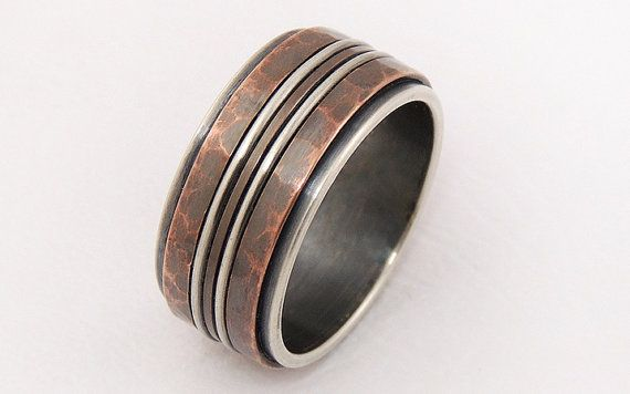Rustic Mens Ring Silver Copper Men Engagement Wedding Band Unique S Wide