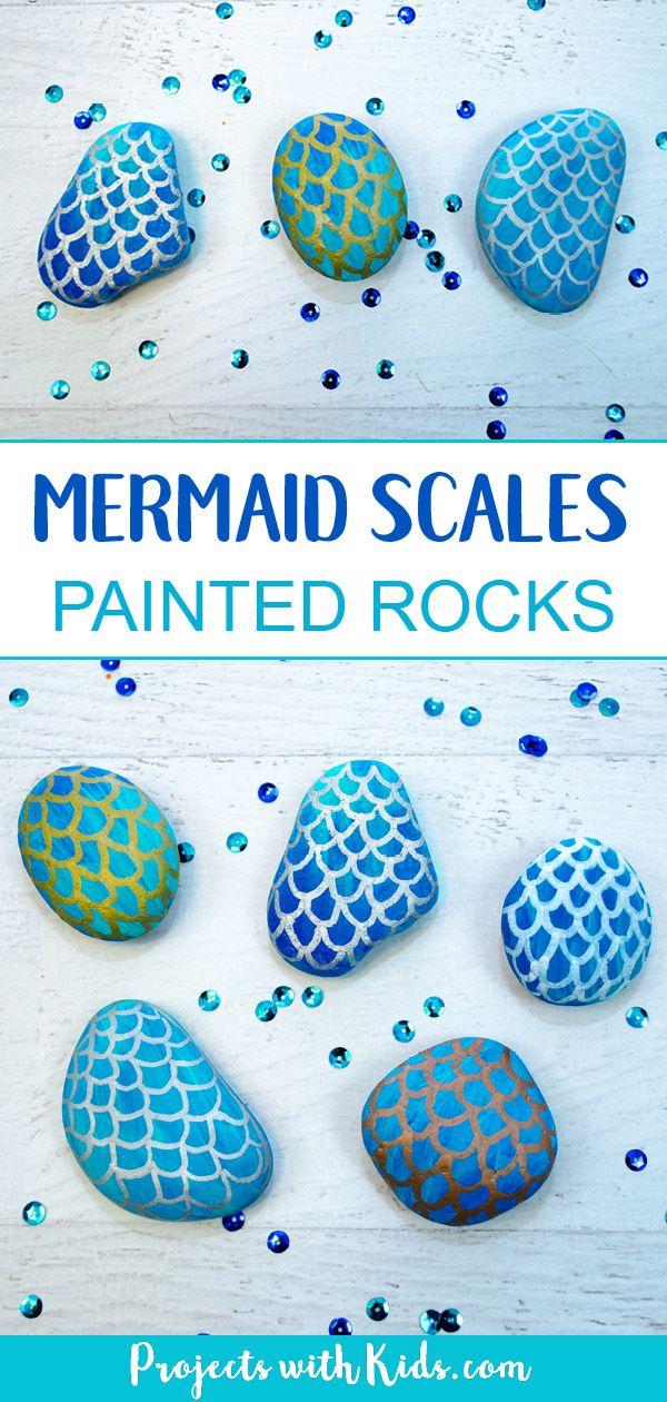 Étapes faciles pour savoir comment dessiner des écailles de sirène sur des rochers peints. Une peinture rock amusante …