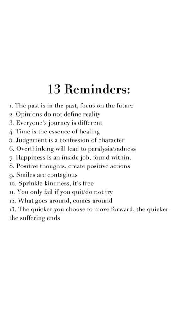 13 reminders- lifestyle